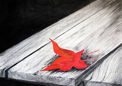Cloudy Day Drawing - Two Red Leaves by Rebecca Davis