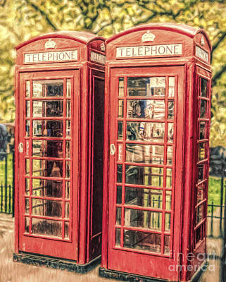 Digital Art - Two Red Phone Boxes by Liz Leyden