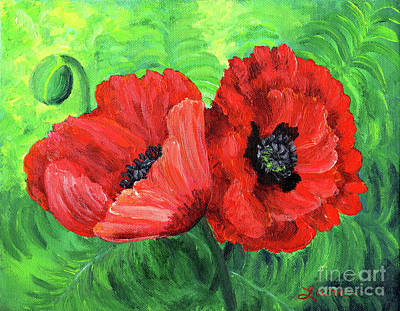 Scarlet Painting - Two Red Poppies by Laura Iverson