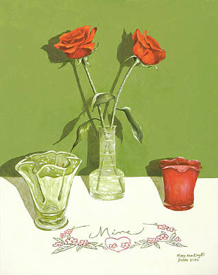 Painting - Two Red Roses by Mary Ann King