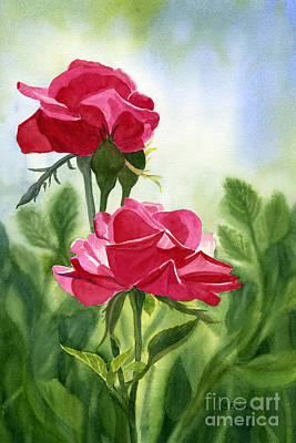 Two Red Roses With Leafy Background Original