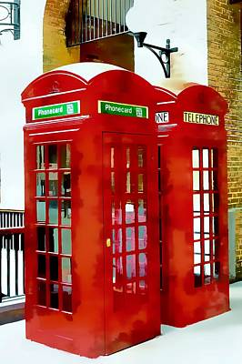 Photograph - Two Red Telephone Boxes by Dorothy Berry-Lound