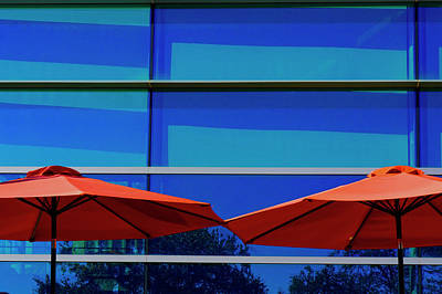 Photograph - Two Red Umbrellas by Steve Gravano
