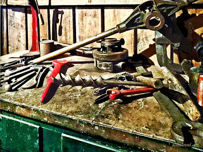 Photograph - Two Red Wrenches On Plumber's Workbench by Susan Savad