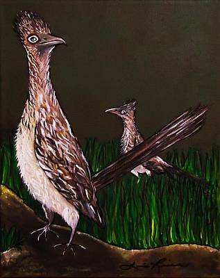 Two Roadrunners Curiosity Original by Lois    Rivera