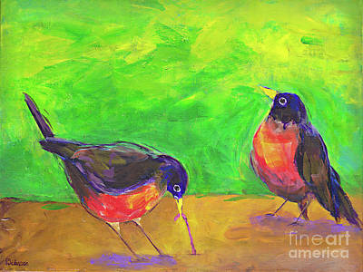 Bird And Worm Painting - Two Robins By Peggy Johnson by Peggy Johnson