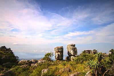 Two Rock Pinacles And Sky Landscape Photograph With Footpath At Kaapsehoop Art Print by Jan Van der Westhuizen