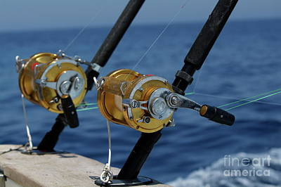 Two Rod And Reels On Board A Game Fishing Boat In The Mediterranean Sea Art Print by Sami Sarkis