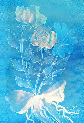 Mixed Media - Two Roses And A Daisy by Maria Urso