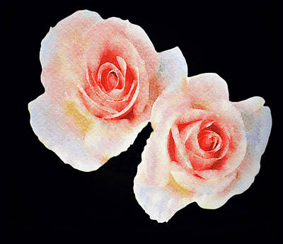 Mixed Media - Two Roses by Dennis Buckman