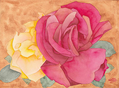 Painting - Two Roses by Ken Powers