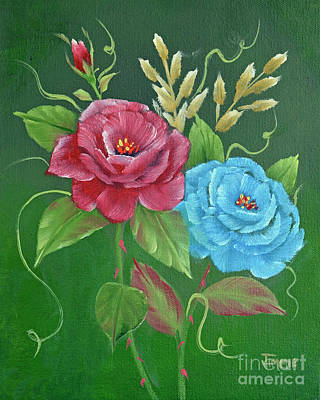 Wet On Wet Painting - Two Roses Red And Blue by Jimmie Bartlett