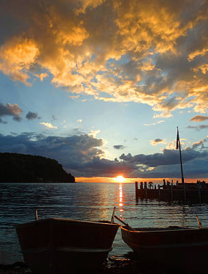 Little Sister Photograph - Two Rowboat Sunset by David T Wilkinson