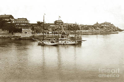 Photograph - Two Sail Boats At Pier At Lovers Point Beach Circa 1915 by California Views Mr Pat Hathaway Archives