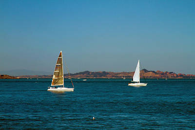 Photograph - Two Sailboats On The Bay by Bonnie Follett
