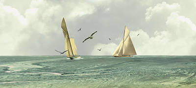 Digital Art - Two Sailboats by M Spadecaller