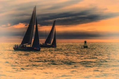 Photograph - Two Sailboats Sunset Key West Florida Dsc01272_16 by Greg Kluempers