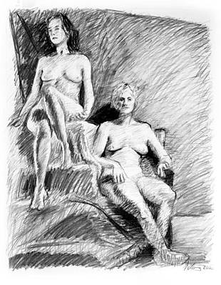 Two Seated Nudes Figure Drawing Original