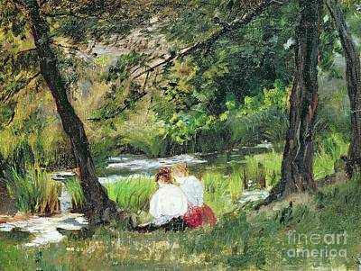 Riverbank Painting - Two Seated Women by Mary Stevenson Cassatt