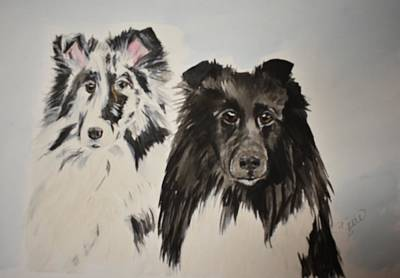 Painting - Two Shelties by Susan Voidets