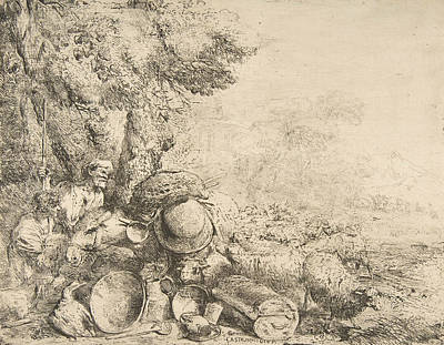Relief - Two Shepherds, A Donkey And Other Animals In A Landscape by Giovanni Benedetto Castiglione