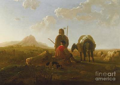 Mules Painting - Two Shepherds With A Mule And A Dog In A Hilly Landscape by Celestial Images