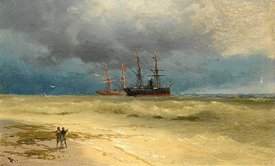 Painting - Two Ships Anchored Off A Beach by Ivan Konstantinovich Aivazovsky