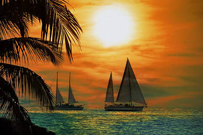 Orange Sun Photograph - Two Ships Passing In The Night by Bill Cannon