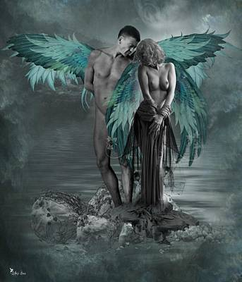 Digital Art - Two Shy Angels  by Ali Oppy