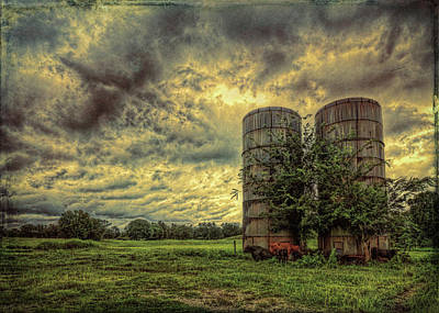 Art Print featuring the photograph Two Silos by Lewis Mann