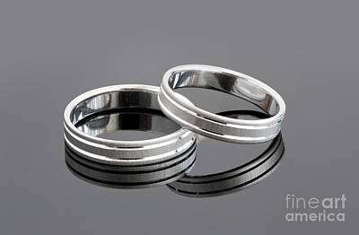 Two Silver Wedding Rings Art Print