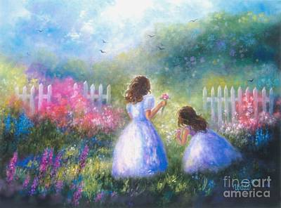 Little Girls In Garden Painting - Two Sisters In The Garden by Vickie Wade