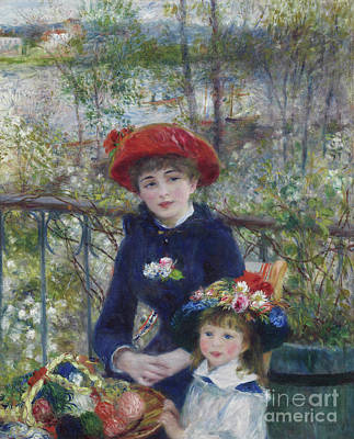 Railing Painting - Two Sisters Or On The Terrace by Pierre Auguste Renoir