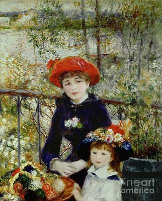 Riverbank Painting - Two Sisters by Pierre Auguste Renoir