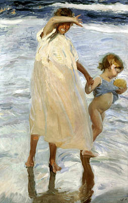Two Sisters Painting - Two Sisters, Valencia by Joaquin Sorolla