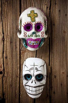 Two Skull Masks Print by Garry Gay