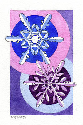 Painting - Two Snowflakes by Nancy Roberts