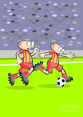 Football Digital Art - Two Soccer Players Advance On The Field To The Opposing Goal by Daniel Ghioldi