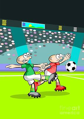 Two Soccer Players At The Stadium Art Print