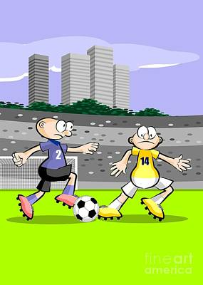 Soccer Digital Art - Two Soccer Players Compete For The Ball by Daniel Ghioldi