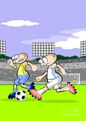 Two Soccer Players Cross The Middle Field While The Goalkeeper In The Bottom Of The Image Remains Al Art Print