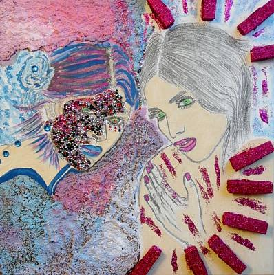 Mixed Media - Two Sparkling Females  by Nicole Burrell