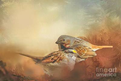 Sparrows In The Marsh 2 Art Print