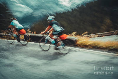 Photograph - Two Sportsmans On The Bicycles by Anna Om