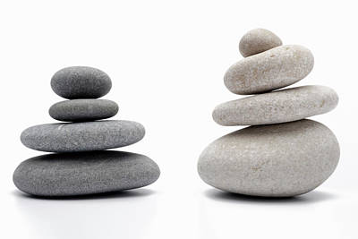 Balance Of Nature Photograph - Two Stacks Of White And Gray Pebbles by Sami Sarkis