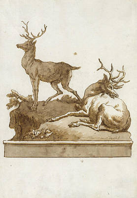 Drawing - Two Stags, One Standing And One Lying, On A Grassy Knoll by Giovanni Domenico Tiepolo