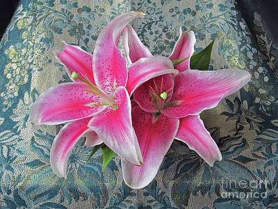 Photograph - Two Stargazer Lilies With Golden Sprinkles by Nancy Lee Moran