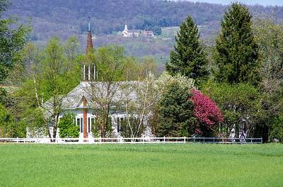 Church On The Hill Photograph - Two Steeples  by Stephanie Calhoun
