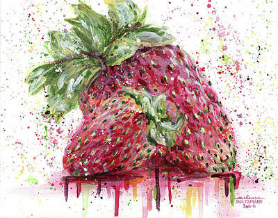 Two Strawberries Art Print