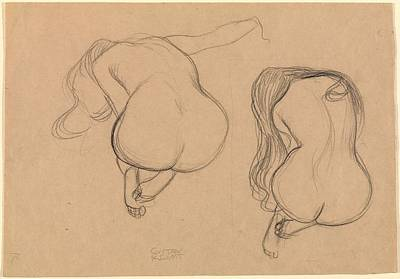 Study Of A Nude Drawing - Two Studies Of A Seated Nude With Long Hair by Grypons Art